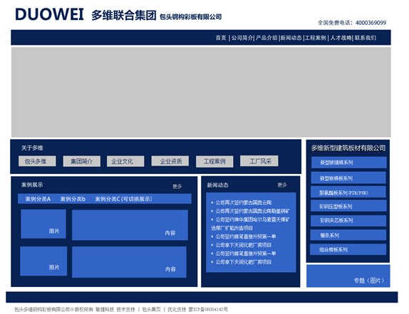 钢构彩板公司网站改版框架说明图片